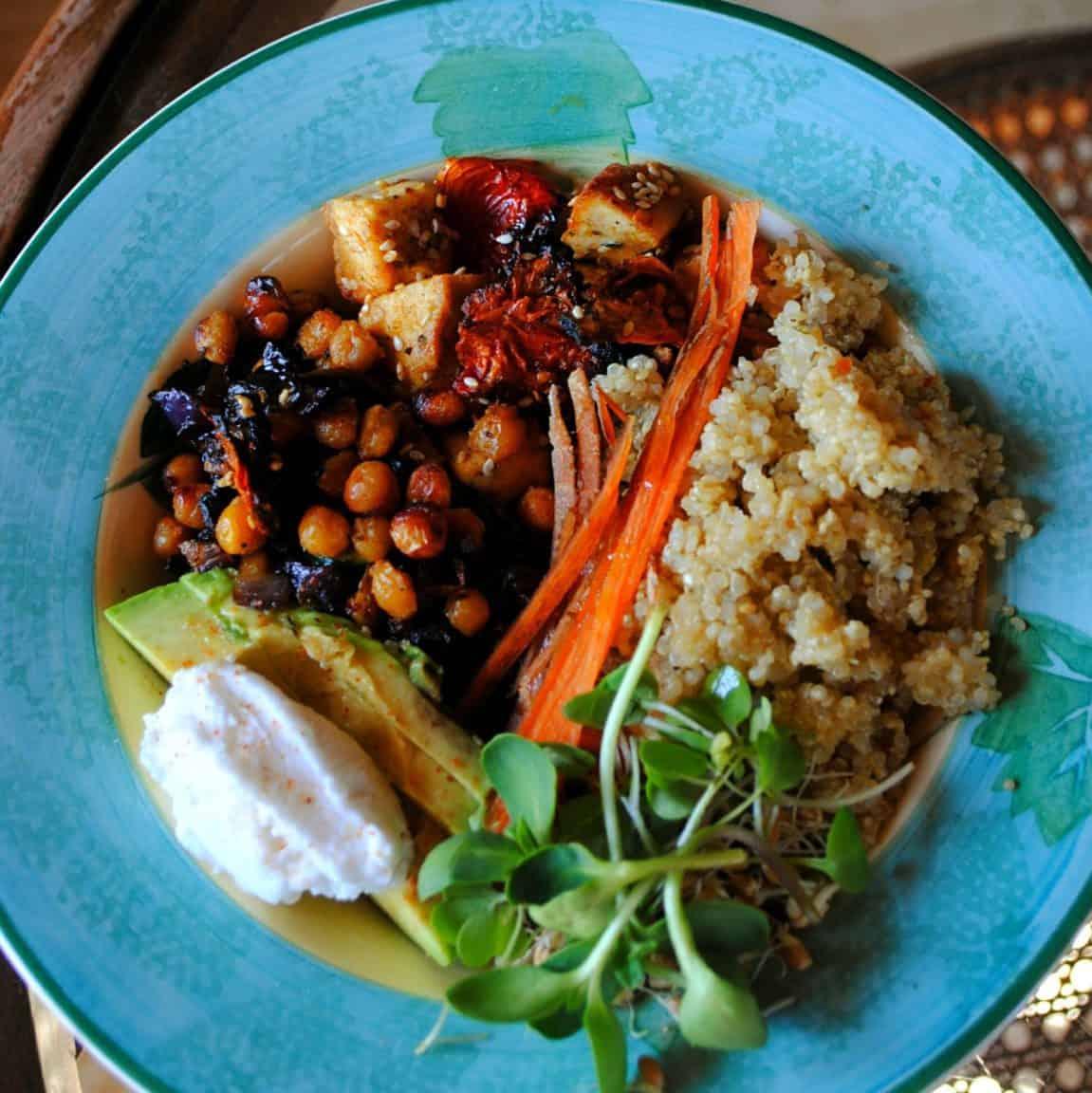 blue bowl with quinoa