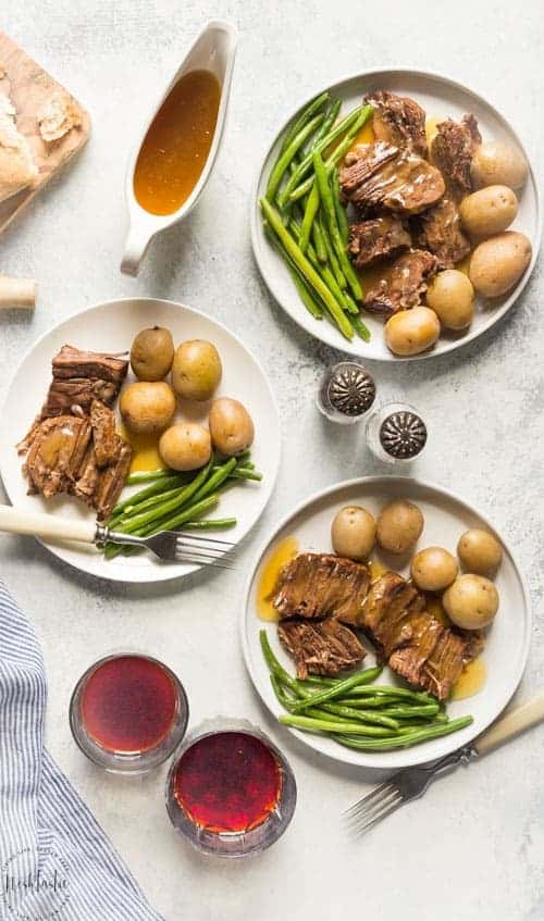 pot roast on plates