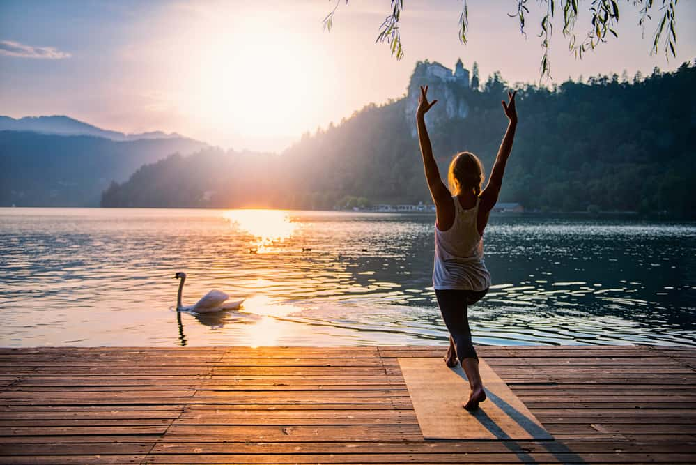 fibromyalgia fatigue treatment - yoga at lake